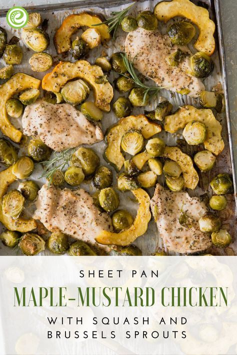 Sheet Pan Maple-Mustard Chicken with Squash and Brussels Sprouts | eMeals.com