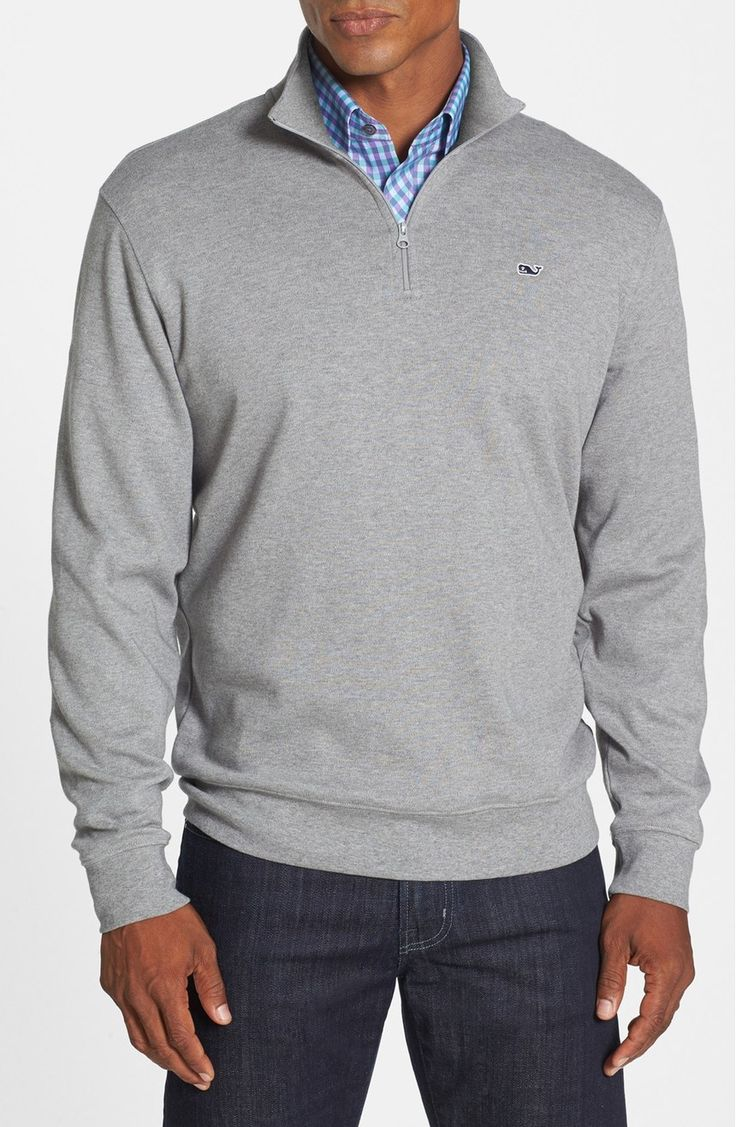 An embroidered whale logo at the chest brands this lightweight quarter-zip pullover that's ideal for layering once the temperature starts to drop.