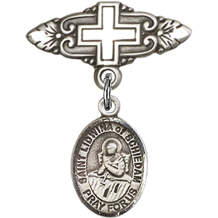 Sterling Silver Baby Badge with St. Lidwina of Schiedam Charm and Badge Pin with Cross 1 X 3/4 inches -- Click image for more details.