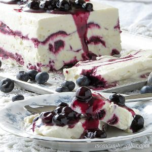 Coconut Cream Semifreddo with Blueberries is what all ice cream wishes it could be! | low carb, gluten-free, dairy-free, Paleo, Keto, THM | momcanihavethat.com