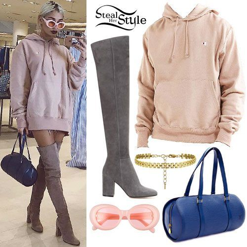 Pia Mia Perez posted a photo on instagram wearing the Urban Outfitters x Champion Men's Reverse Weave Hoodie Sweatshirt ($64.00) in Rose, Gianvito Rossi Rolling 85 Over-The-Knee Suede Boots ($1,795.00), a Louis Vuitton Papillon Bag ($1,200.00 – similar style) in Blue Epi Leather, Acne Studios Pink Mustang Sunglasses ($320.00), and the Are You Am I Jace Chain Choker ($149.00).
