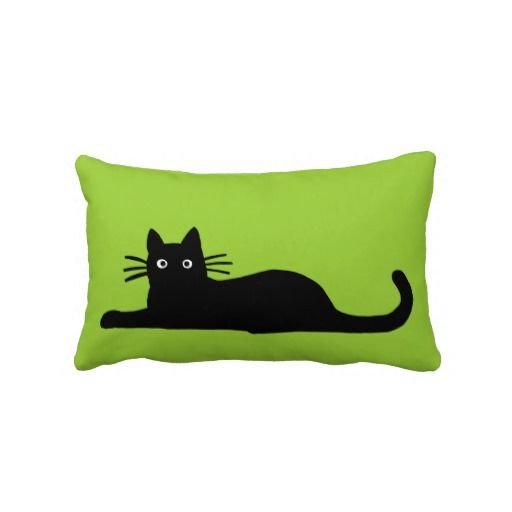 Black Cat on Green Pillow or cusion