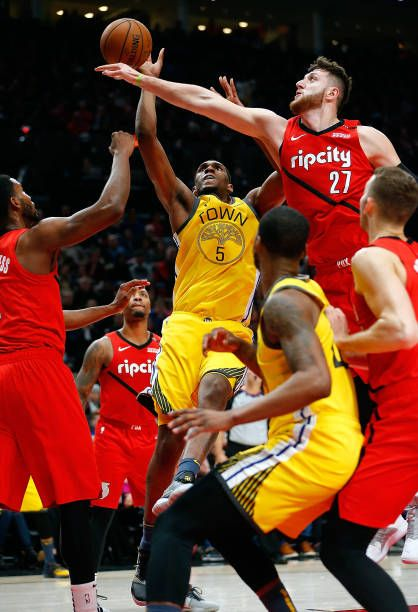 the best attitude 47ed0 d14a8 Kevon Looney of the Golden State Warriors shoots against Jusuf Nurkic of the  Portland Trail Blazers at Moda Center on December 29 2018 in Portland.