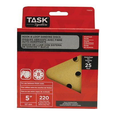 Task Tools T15035 Signature 8 Hole Hook and Loop 220 Grit Disc (25 Pack)