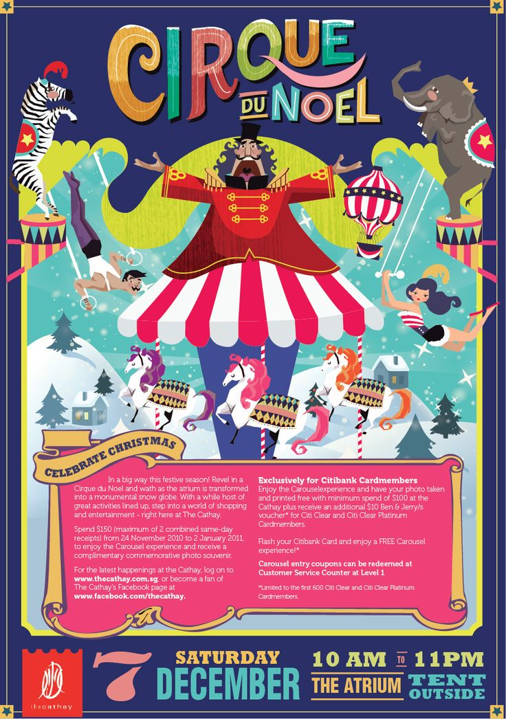 The Cathay, a shopping mall that cater to young individuals that is in tune with the current art and fashion scene is having a christmas carnival-carousel theme for their Christmas campaign. A series of illustration is proposed, the first is Cirque Du Noe…