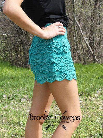 Crochet Lace Shorts, Turquoise