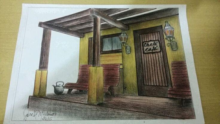 """Projeto Cafeteria """" ChaléCafé""""- lápis de cor."""