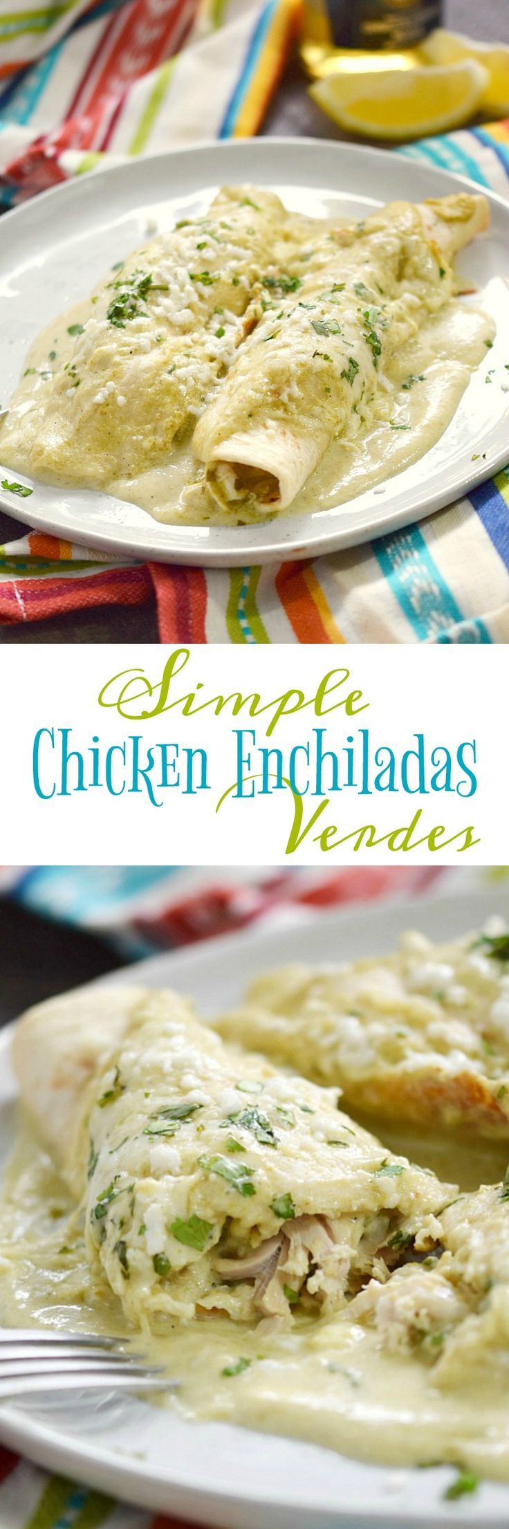 These Simple Chicken Enchiladas Verdes are crazy delicious and couldn't be any easier to prepare. They are guaranteed to become a family favorite | http://cookingwithcurls.com