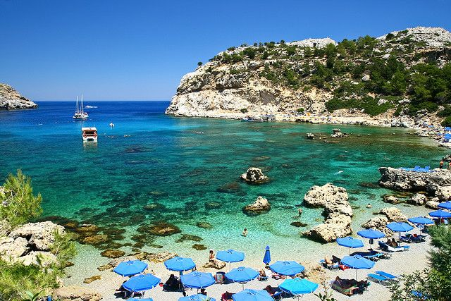 Rhodes - I loved this beach, most beautiful one I have ever seen....besides the sun loungers