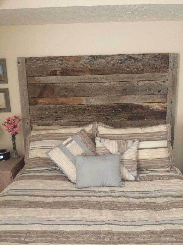 Recycled barn wood headboard!