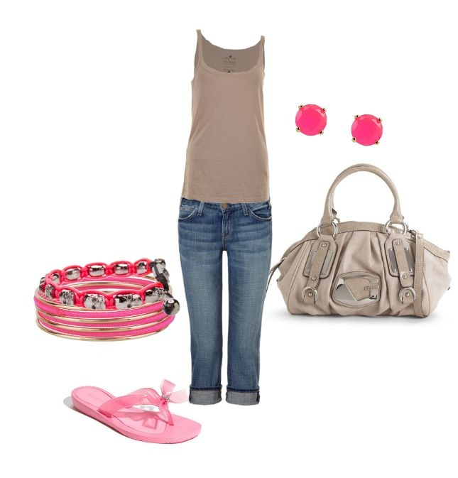 Pink & Beige--Casual/Spring: Beige Casual Spring, Fashion, Style, Clothes, Pink