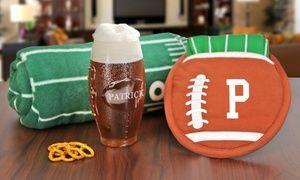 Groupon - Monogram Online Custom Football Shaped Glass, Potholder and Towel, or Fleece Throw. Groupon deal price: $5
