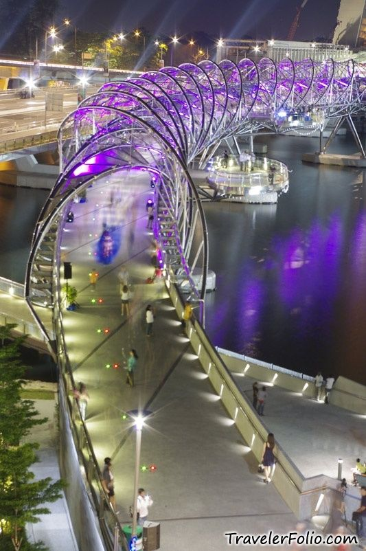 The Helix Bridge, previously known as the Double Helix Bridge, is a pedestrian bridge linking Marina Centre with Marina South in the Marina Bay area in Singapore.