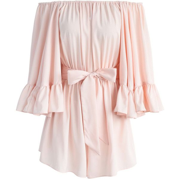 Chicwish For the Frill of it Off-shoulder Playsuit in Pink ($56) ❤ liked on Polyvore featuring jumpsuits, rompers, pink, pink romper, fancy romper, playsuit romper, ruffle romper and bell sleeve rompers
