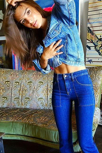 Emily Ratajkowski wearing Joe's the Charlie Flare Jeans in Angelique