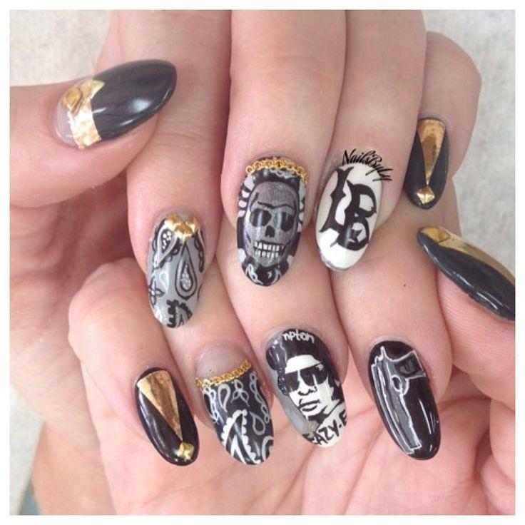 Easy E Nail Art. Gangster, Black And White, Gun, Long