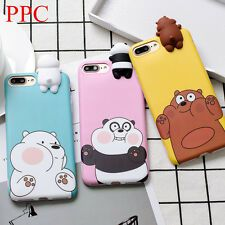 3D Cartoon Cute Bare Bears Soft Phone Case Back Cover For iPhone 6/6S/7/8/X Plus