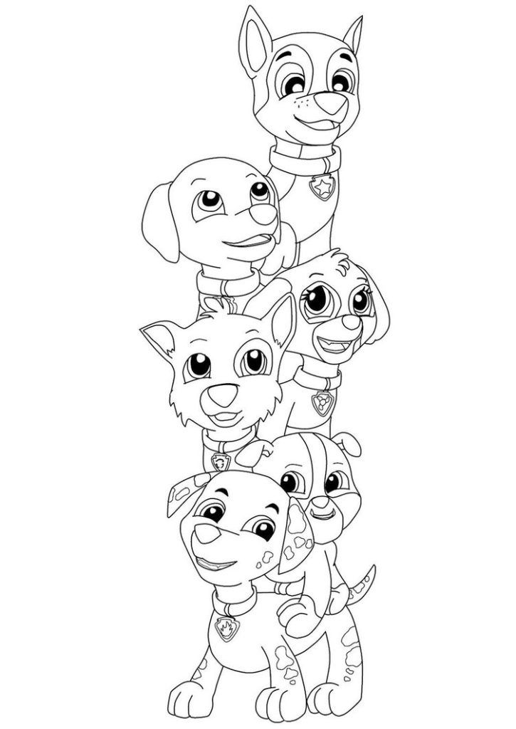 print paw patrol characters coloring page