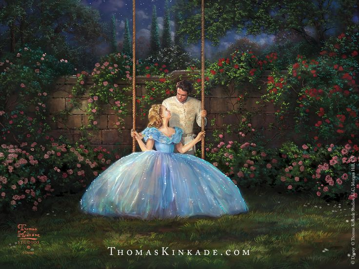 """""""Dreams Come True"""" is a romantic painting from the Thomas Kinkade Studios inspired by the Disney live action movie, """"Cinderella"""".  One of four paintings highlighting key moments from the film, this image captures the everlasting love that Cinderella and the Prince have found together. !!!!!!"""
