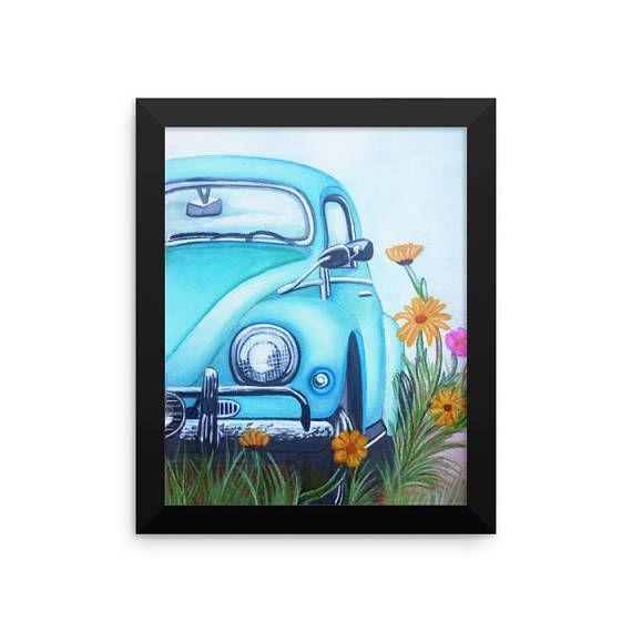 #sixty beetle art #blue beetle art #blue beetle painting #vintage beetle art # vintage cars in watercolor