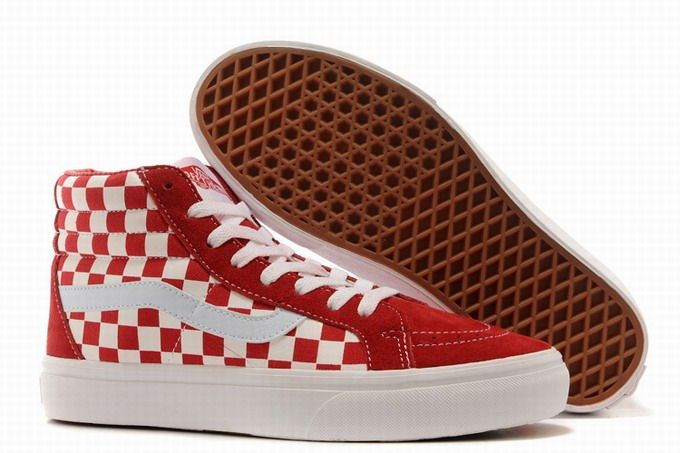47b15cad6f Vans SK8-Hi Classic Checkerboard Red White Men s Shoes  Vans