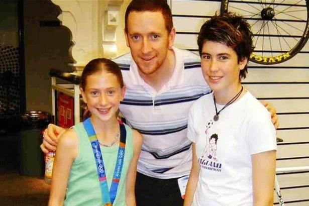 Hero: Laura Trott aged 12 with Bradley Wiggins' gold medal in 2004