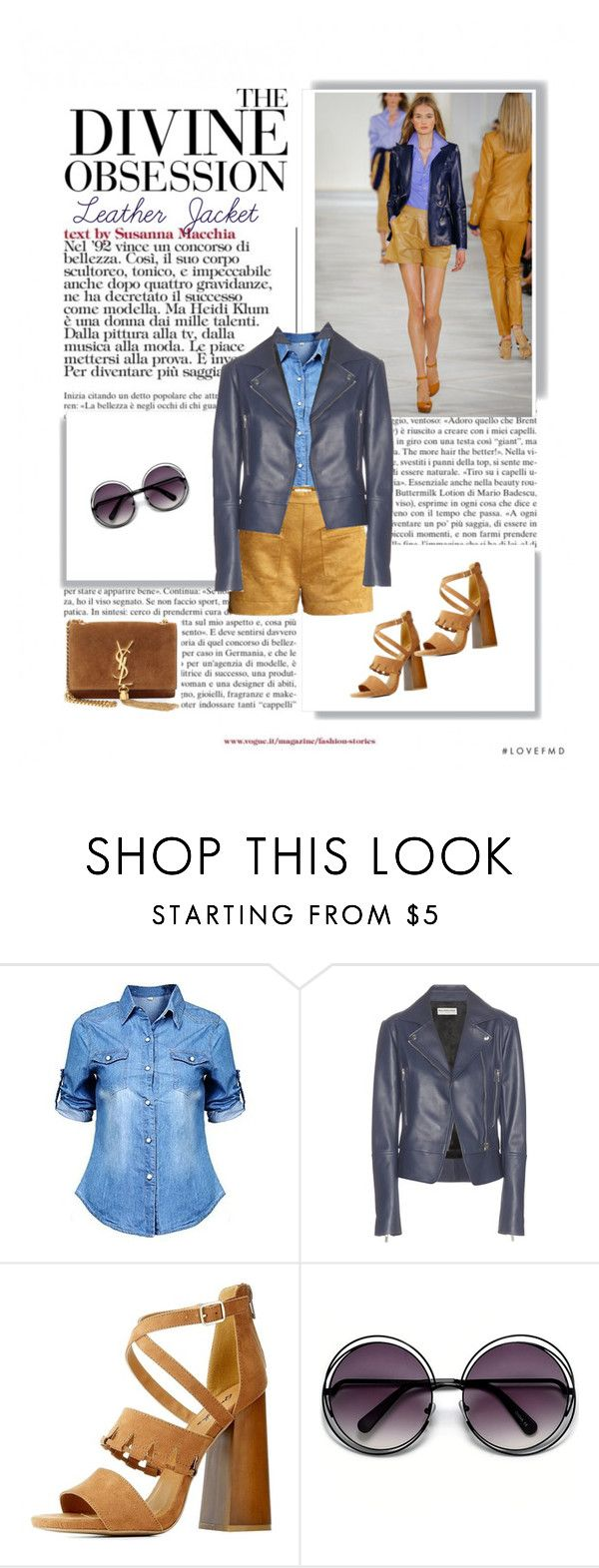 """""""Navy Leather Jacket"""" by dmschar ❤ liked on Polyvore featuring Ralph Lauren, Balenciaga, Qupid, Yves Saint Laurent and Vera Wang"""
