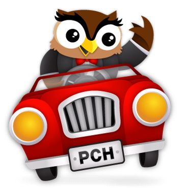 "PCHSearch's mascot, Edwin the Owl thinks you all should head on over to the PCHSearch fan page on Facebook and join him! He thinks you'll ""Like"" what you find! #PCH #Edwin"