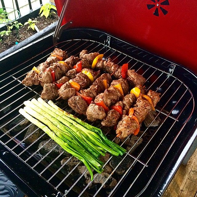 Playing with the new toy my wife got me for my birthday. Lamb kabobs slowly cooked over wood charcoal to be served with corn and a fresh salad. Looking forward to the wonderful aroma translating into awesome taste. @zimmysnook