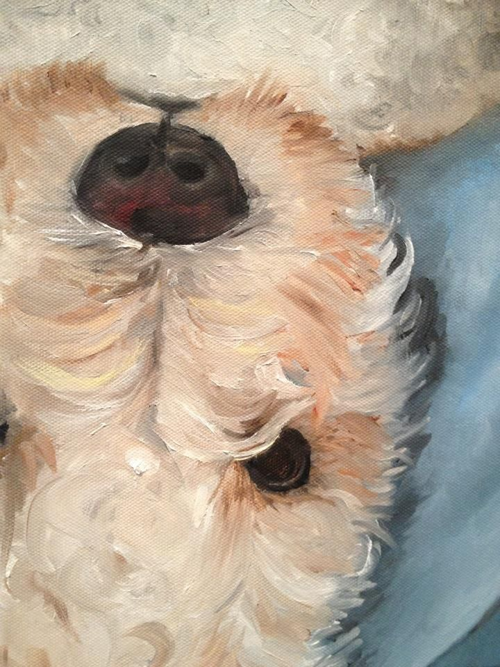 Mini Golden Doodle dog painting
