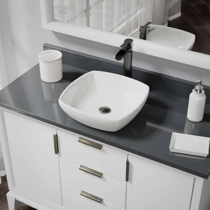 Rene by Elkay R2-5011-B-R9-7007 Biscuit Porcelain Vessel Sink with Vessel Faucet and Vessel Pop-Up Drain (