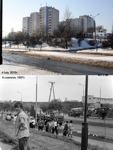 ul. Filaretów i Jutrzenki z wieżowcami przy Watykańskiej  2010 vs 9.06.1987.   Papamobil jedzie na starze.