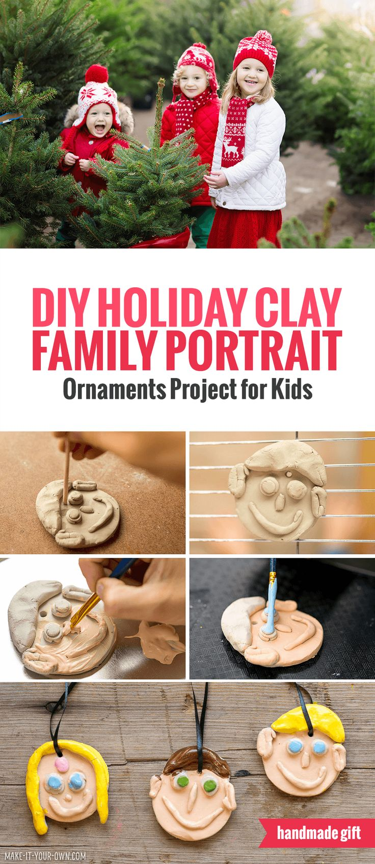 DIY Clay Family Portrait Ornaments - Holiday Project for Children *My kids would love this Christmas project