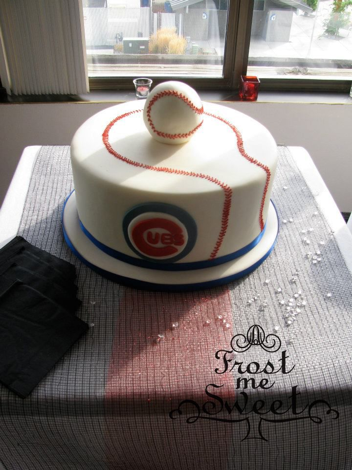 Frost Me Sweet Bistro & Bakery - It's a Man's World Chicago Cubs Baseball Cake Grooms Cake www.frostmesweet.com