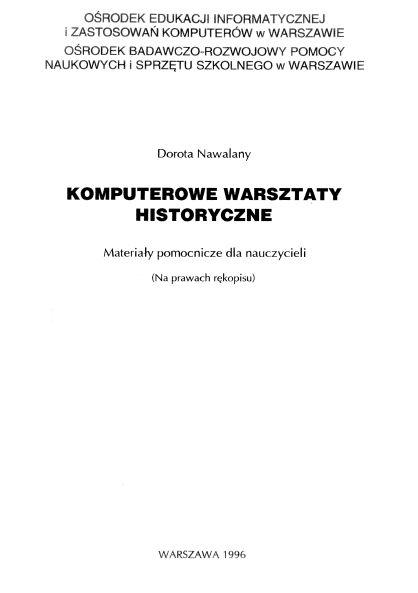 Opracowanie autorskie Aplikacji komputerowych dla historii, Ośrodek Edukacji Informatycznej i Zastosowań Komputerów w Warszawie