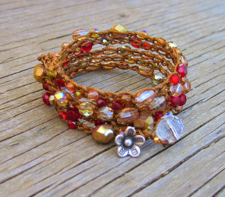 crochet bracelet with beads, adorable