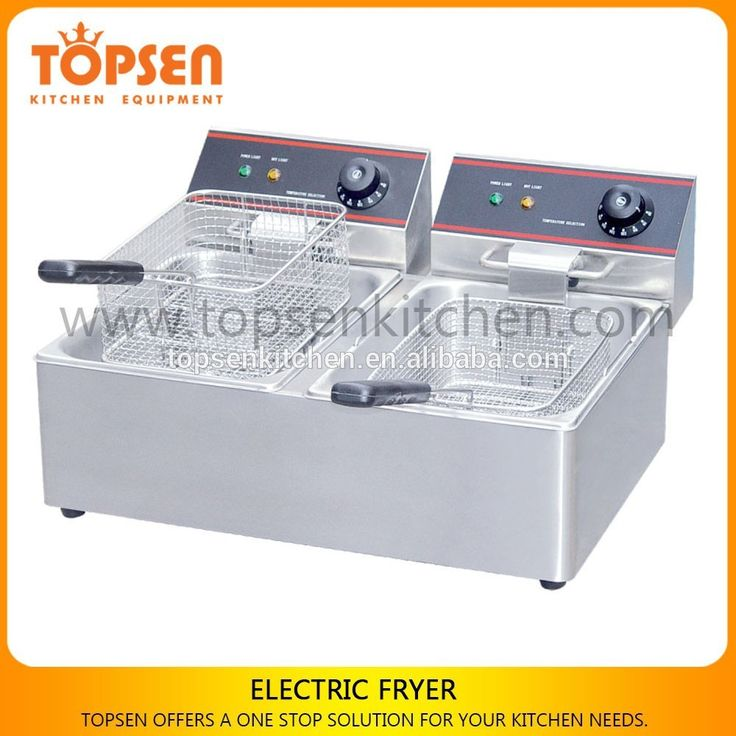 stainless steel commercial industrial electric deep fryer with 2 tanks for sale