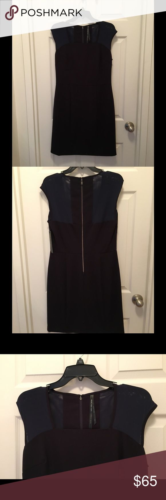 NWT Andrew Marc Sheath Dress Marc New York Andrew Marc Sheath Dress. Black with midnight navy mesh at shoulders front and back. Visible zipper in back. NWT Andrew Marc Dresses