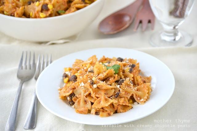 Farfalle with Creamy Chipotle Pesto, Black Beans and CornBlack Beans, Pulled Chicken, Creamy Chipotle, Food, Farfalle, Mothers Thyme, Mr. Beans, Corn, Chipotle Pesto