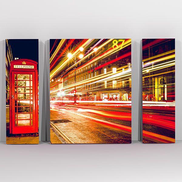 Τηλεφωνικος Θάλαμος - London phone τρίπτυχος πίνακας σε καμβά
