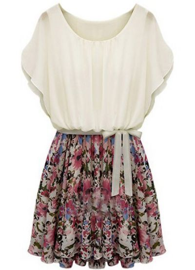 Beige Batwing Short Sleeve Floral Belt Dress pictures
