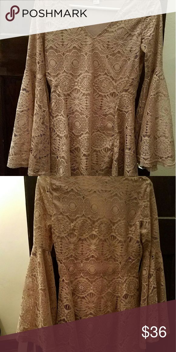 Breath-taking tan/beige women's top S, SACRIFICE! Tan top with flowing laces sleeves - too small, must sell! Tops Blouses