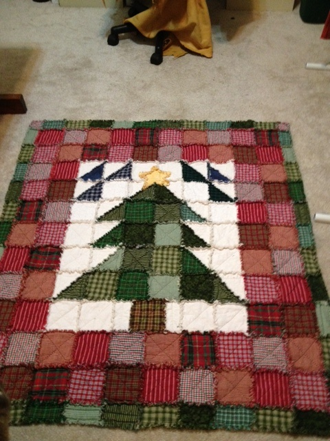 """Christmas rag quilt I made for my sister. The pattern was in """"A Year of Rag Quilts"""" by Annis Clapp. I adapted it from a wall hanging size to a nice wrap up in a book size."""