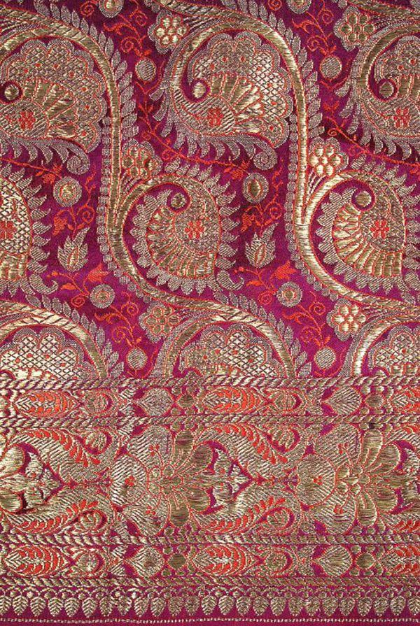 Gorgeous colors + I love Benares sari. Antique lavish gilt silver/gold and violet Benares Brocade Indian Sari