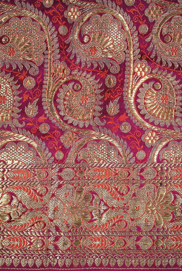 indian silk brocade sari borders | ... gold and violet Benares brocade Indian sari | Carolyn Forbes Textiles