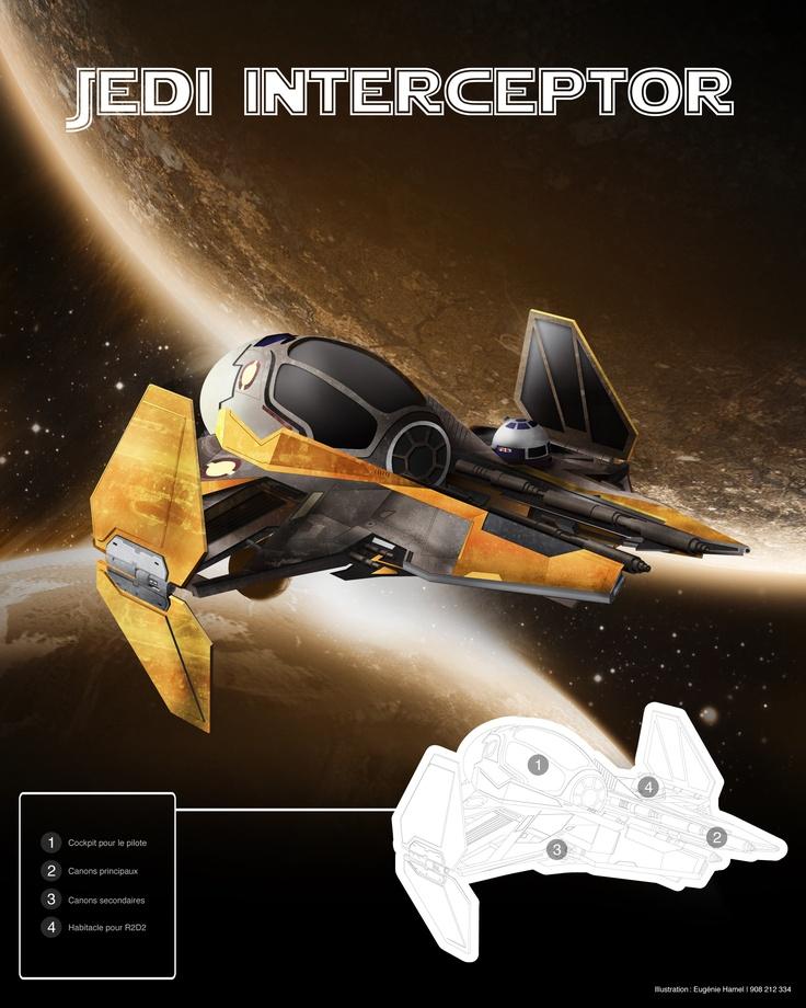 Illustration Jedi interceptor - Star Wars   Eugénie Hamel