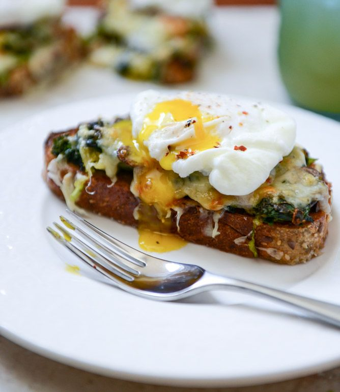 Broiled Fontina Veggie (spinach, brussels sprouts, mushrooms, kale) Toasts with Roasted Garlic and Poached Eggs