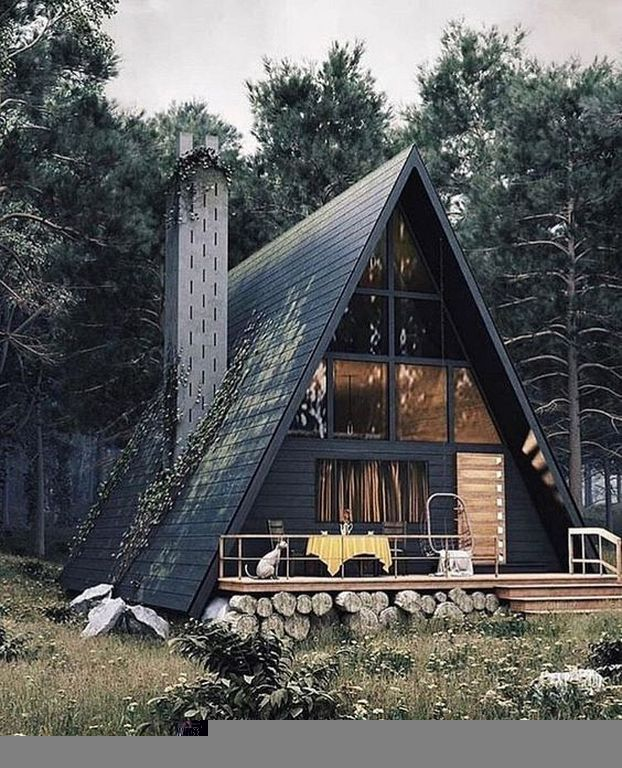 40 Unique Frame Cabin House Design To Your Inspiration House In The Woods Tiny House Cabin A Frame House