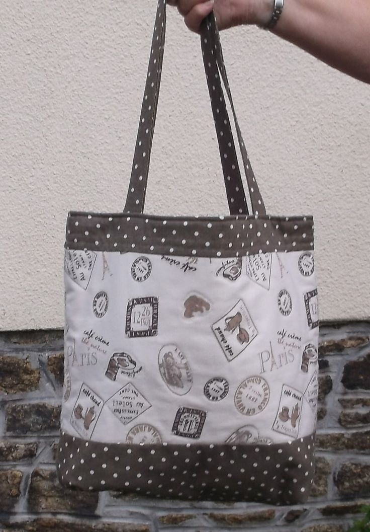 Women's Shoulder Bag, Handmade Ladies, Tote Bag, Brown color, Polka dot, cotton linen, fabric bags, Shopping bag, Fully Lined shopper Tote,
