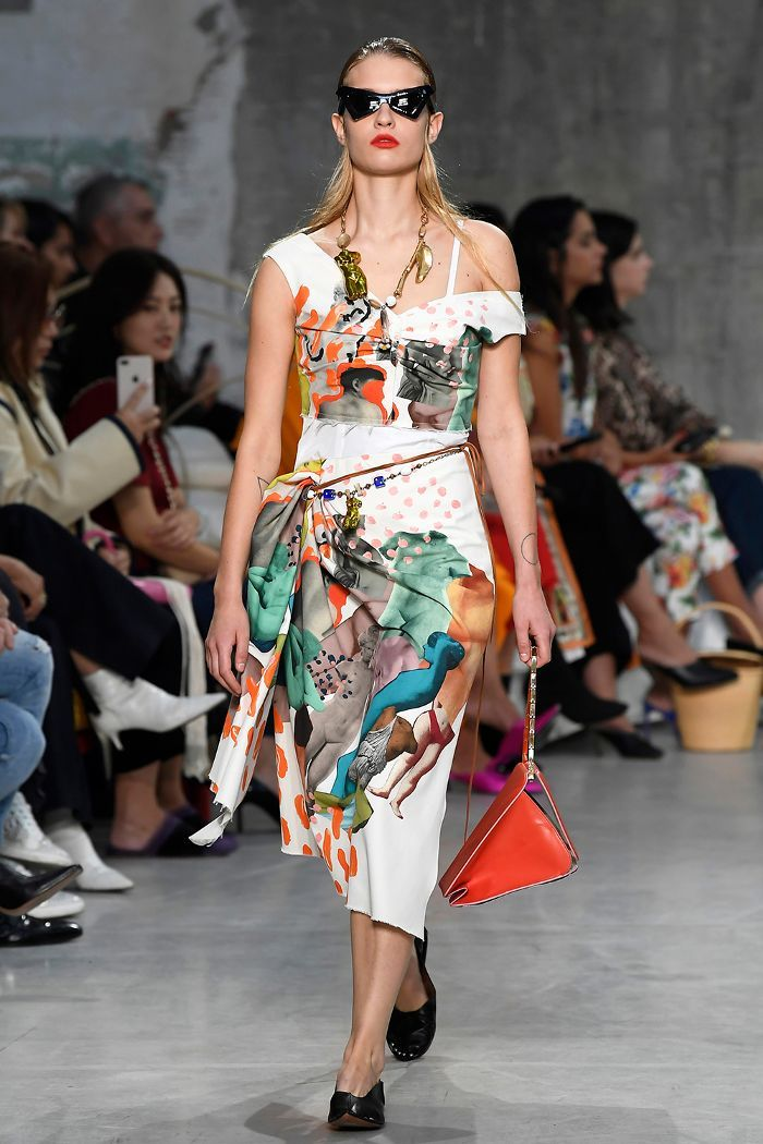 a21963dfd54 Spring summer 2019 fashion trends  Marni s printed off-the-shoulder dress  and shell jewellery